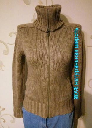 H&m . классная интересная кофта свитер гольф на молнии 30% шер...