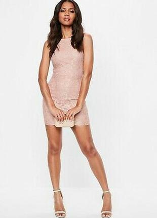 Missguided платье кружевное гипюр розовое пудровое бежевое по ...