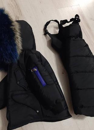 Детский зимний комбинезон черный с натуральной опушкой