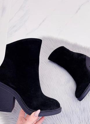 Повседневные зимние ботинки ботильоны на каблуке, натуральная ...