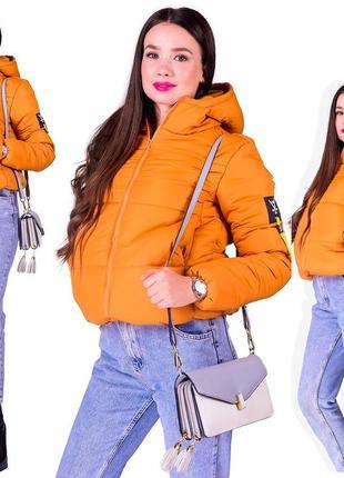 Молодежная зимняя куртка цвет горчица🍊