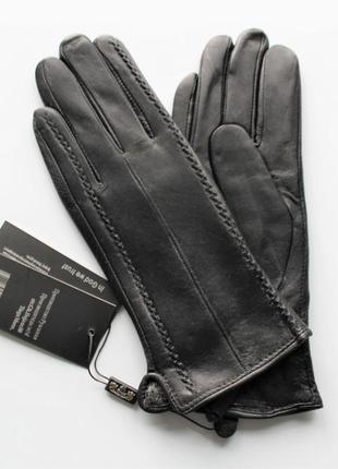 Женские кожаные перчатки подкладка махра