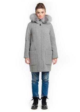 Зимнее женское серое шерстяное пальто-парка с натуральным мехо...