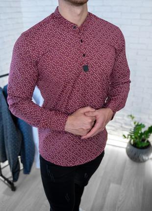 Мужская рубашка бордовая с рисунком 3 пуговицы / турция