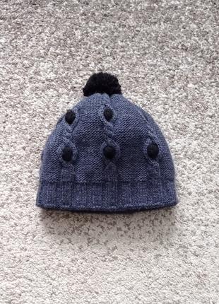 Теплая женская зимняя шапка синего цвета, двойная