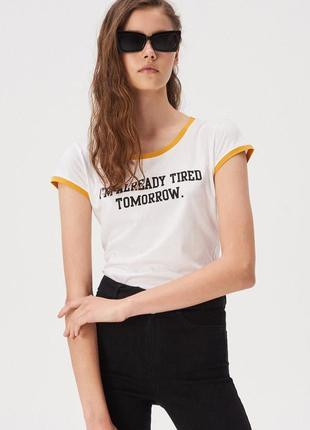 Новая белая футболка sinsay i'm tired tomorrow завтра не наста...