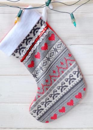 Новогодний, рождественский чулок, сапожок для подарка