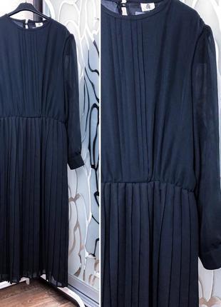 Стильное шифоновое платье, юбка гофре