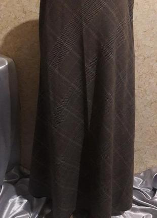 Длинная юбка в клетку на подкладке