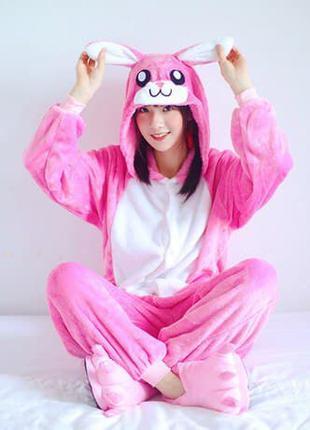 Кигуруми пижама розовый заяц