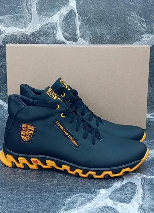 Мужские зимние ботинки porsche design winter boots черные,кожа...