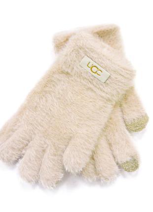 """Детские перчатки """"fur"""" бежевые"""