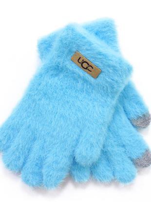 """Детские перчатки """"fur"""" голубые"""