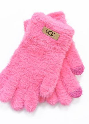 """Детские перчатки """"fur"""" малиновые"""