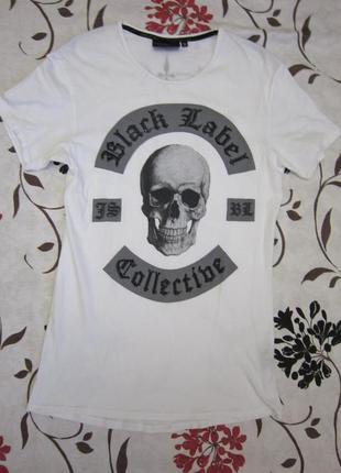 Оригинальная футболка с черепом и черными стразами judas sinned