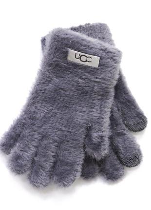 """Детские перчатки """"fur"""" темно-серые"""