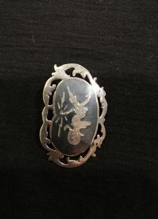 Брошь, винтаж из сиамского серебра