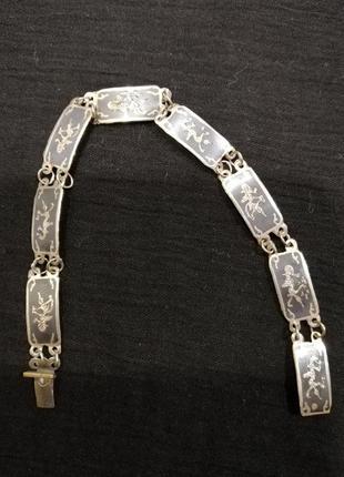 Браслет, винтаж из сиамского серебра