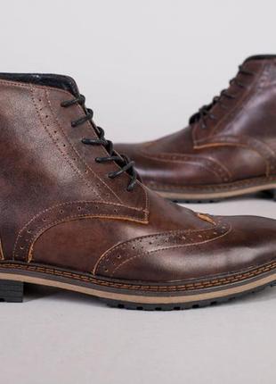 Мужские зимние кожаные коричневые ботинки