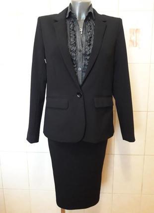 Деловой,стильный,офисный базовый черный пиджак-бойфренд