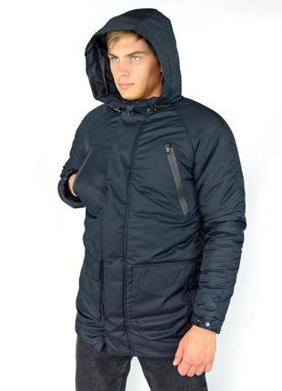 Длинная парка куртка теплая зимняя синяя с капюшоном непромока...
