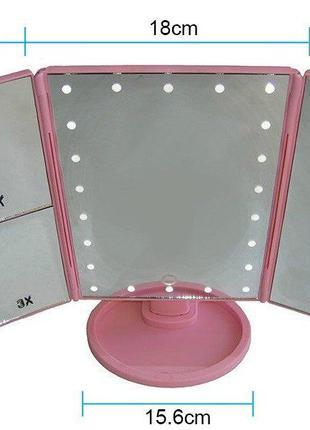 Настольное зеркало для макияжа с LED подсветкой круглое или прямо