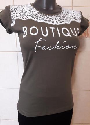 Красивая женственная оливковая футболка gusse от women club,ту...