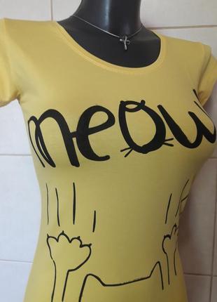 """Красивенная,облегающая,желтая футболка setay,с принтом """"кошачь..."""