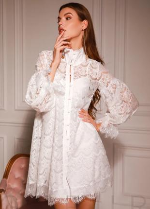 Кружевное платье черный белый
