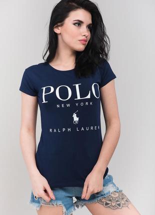 Очень красивая,качественная темно-синяя футболка,стрейч,polo b...