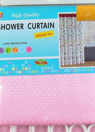 Шторка для ванной и душа текстильная с кольцами 180х180см розовая