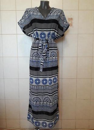 Красивое,эффектное длинное пляжное платье cubus,под пояс