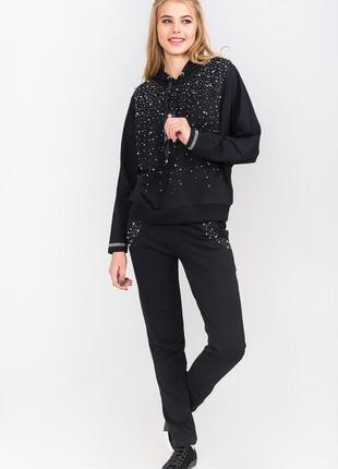 Спорт шик!модный и оригинальный черный женский костюм binka,с ...