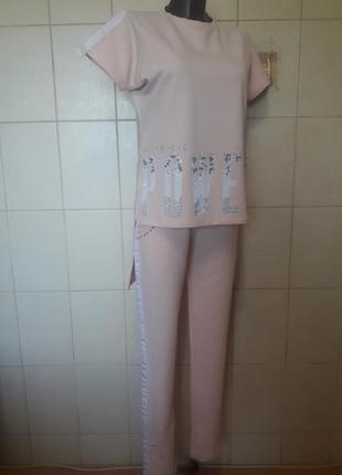 Спорт шик!крутой,модный,оригинальный пудровый костюм binka,с д...