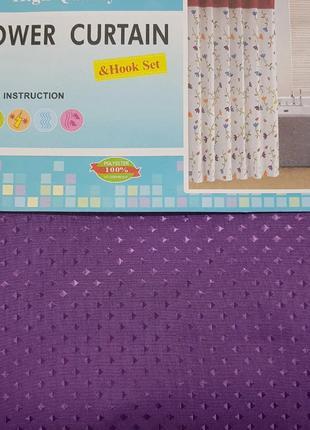 Шторка Для Ванной И Душа Текстильная С Кольцами 180х180см Фиолет