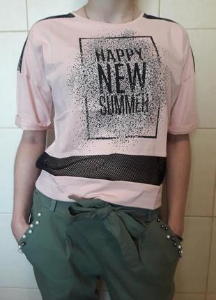 Мега-красивая трендовая,модная пудровая футболка,с прозрачными...