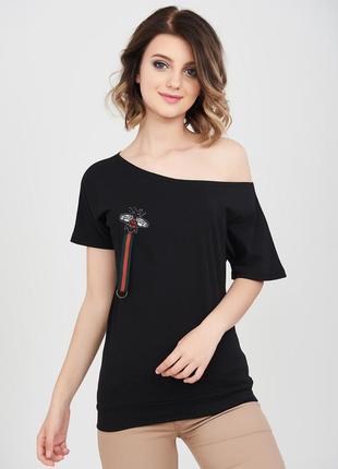 Эффектная стрейчевая черная секси-футболка на одно плечо pink ...