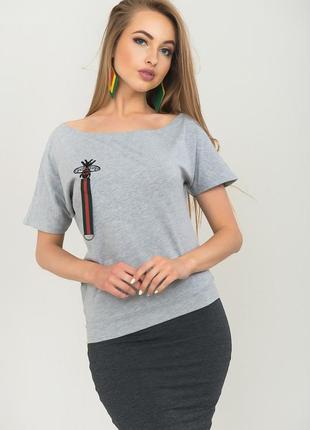 Эффектная стрейчевая меланжевая секси-футболка на одно плечо,o...