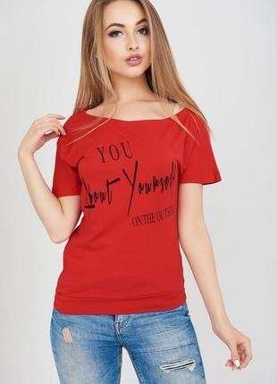 Красивая,женственная,стрейчевая красная футболка на одно плечо...