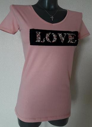 Красивая,стильная качественная пастельно-розовая женская футбо...