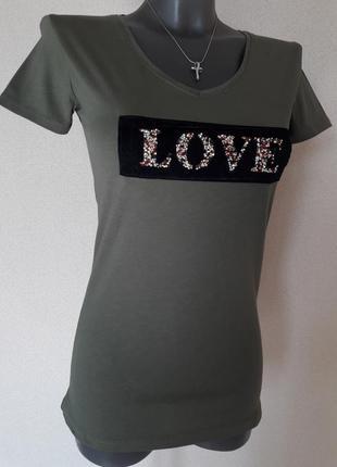 Красивая,стильная качественная женская футболка,цвета хаки chi...