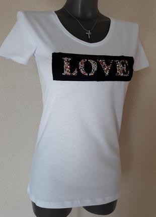 Красивая,стильная качественная женская белая футболка chip pep...