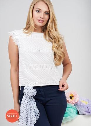 Красивая,нарядная,легкая,нежная молочная блуза из прошвы