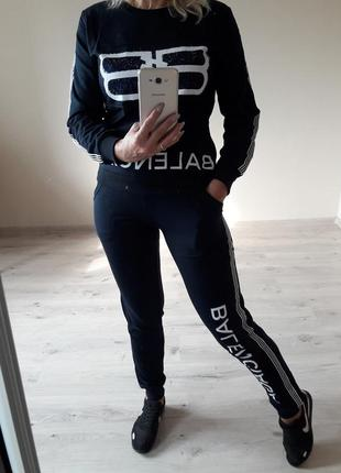 Спорт шик!крутой стильный темно-синий костюм: толстовка и брюк...