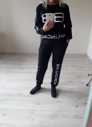 Спорт шик!крутой стильный черный костюм: толстовка и брюки,р-р...