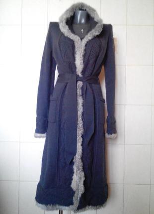 Неповторимое,крутое шерстяное,вязаное пальто-миди erny van rei...