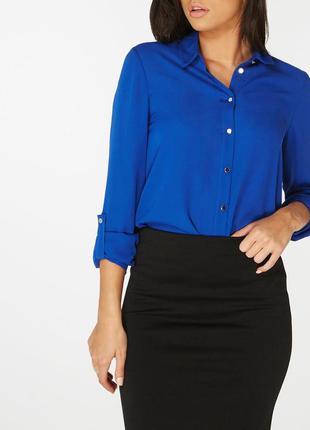 Синяя блуза с длинным рукавом