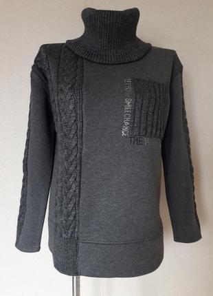 Мега-теплый,толстый,зимний свитер-свитшот на флисе,со съемным ...
