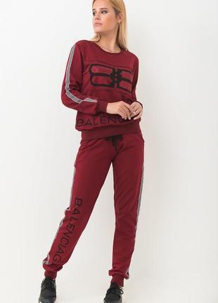 Спорт шик!крутой стильный бордовый костюм bаlеnciaga: толстовк...