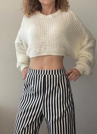 Кремовый вязаный свитер cropp top цвета шампанского от pretty ...